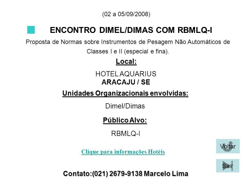 ENCONTRO DIMEL/DIMAS COM RBMLQ-I Proposta de Normas sobre Instrumentos de Pesagem Não Automáticos de Classes I e II (especial e fina). Local: Unidades