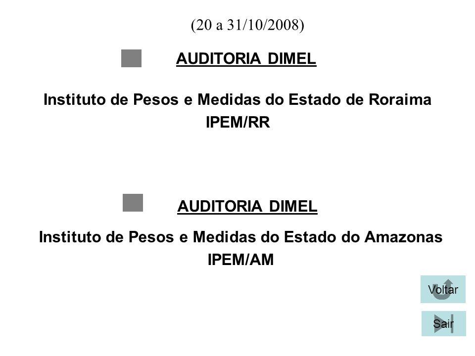 (20 a 31/10/2008) AUDITORIA DIMEL Voltar Sair Instituto de Pesos e Medidas do Estado de Roraima IPEM/RR AUDITORIA DIMEL Instituto de Pesos e Medidas d