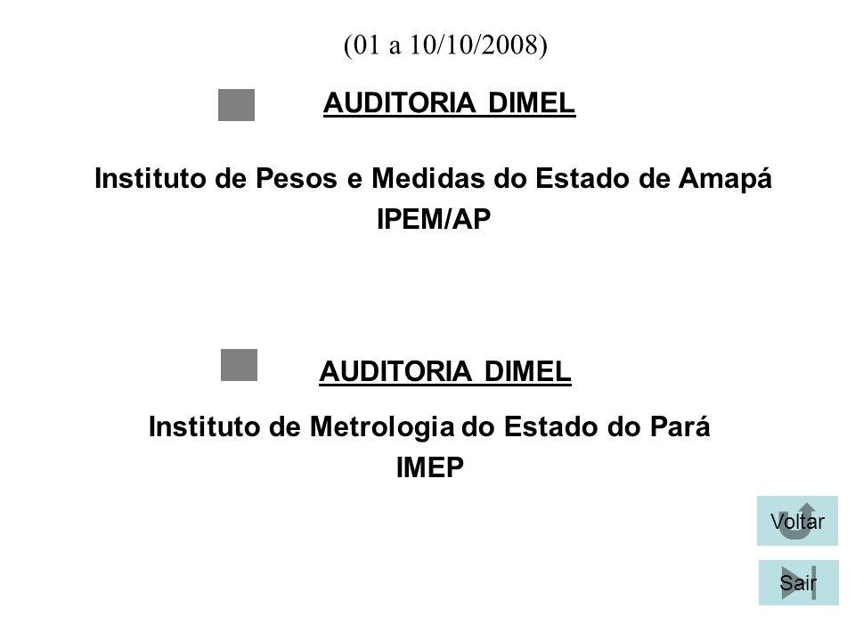 (01 a 10/10/2008) AUDITORIA DIMEL Voltar Sair Instituto de Pesos e Medidas do Estado de Amapá IPEM/AP AUDITORIA DIMEL Instituto de Metrologia do Estad