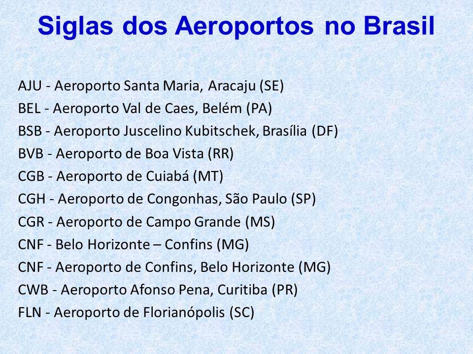 AJU - Aeroporto Santa Maria, Aracaju (SE) BEL - Aeroporto Val de Caes, Belém (PA) BSB - Aeroporto Juscelino Kubitschek, Brasília (DF) BVB - Aeroporto