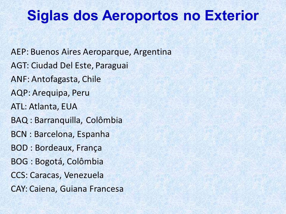 AEP: Buenos Aires Aeroparque, Argentina AGT: Ciudad Del Este, Paraguai ANF: Antofagasta, Chile AQP: Arequipa, Peru ATL: Atlanta, EUA BAQ : Barranquill