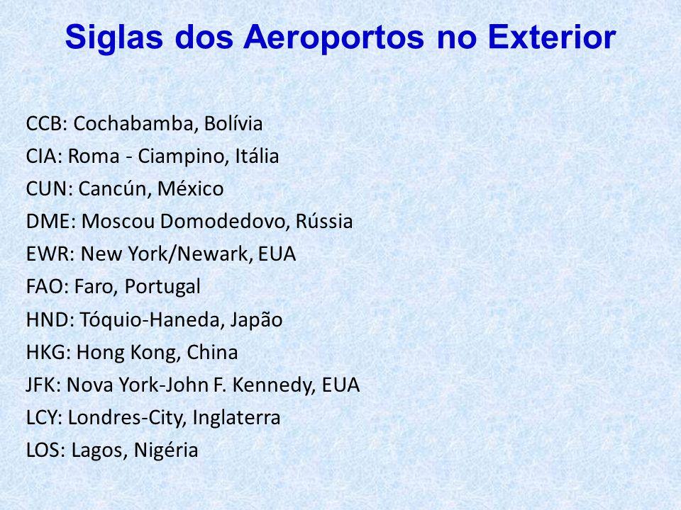 CCB: Cochabamba, Bolívia CIA: Roma - Ciampino, Itália CUN: Cancún, México DME: Moscou Domodedovo, Rússia EWR: New York/Newark, EUA FAO: Faro, Portugal