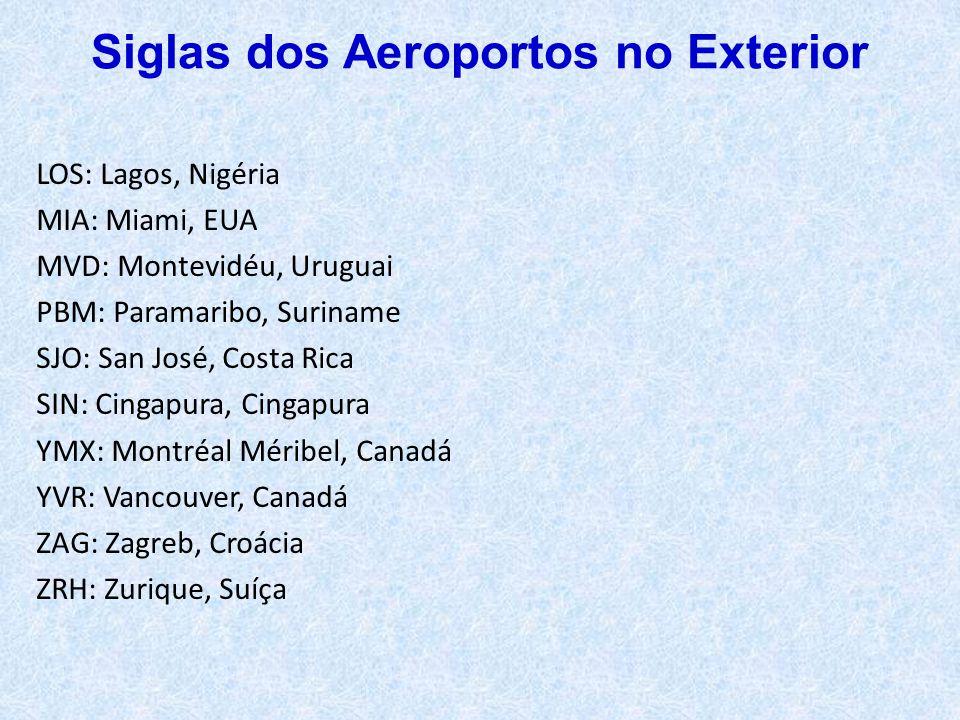LOS: Lagos, Nigéria MIA: Miami, EUA MVD: Montevidéu, Uruguai PBM: Paramaribo, Suriname SJO: San José, Costa Rica SIN: Cingapura, Cingapura YMX: Montré