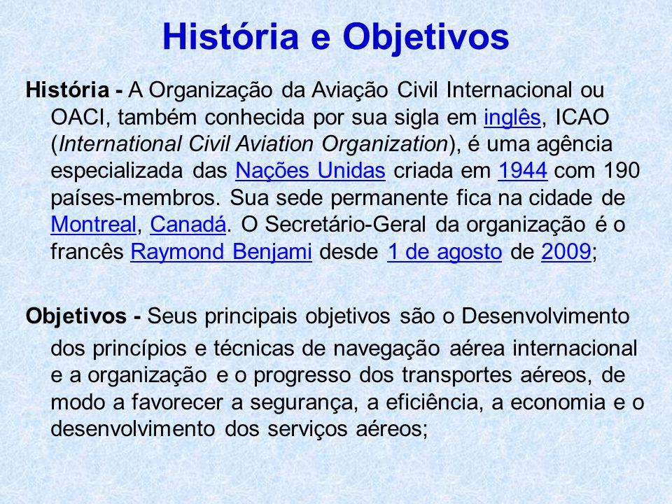 História - A Organização da Aviação Civil Internacional ou OACI, também conhecida por sua sigla em inglês, ICAO (International Civil Aviation Organiza
