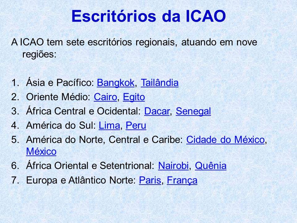 A ICAO tem sete escritórios regionais, atuando em nove regiões: 1.Ásia e Pacífico: Bangkok, TailândiaBangkokTailândia 2.Oriente Médio: Cairo, EgitoCai