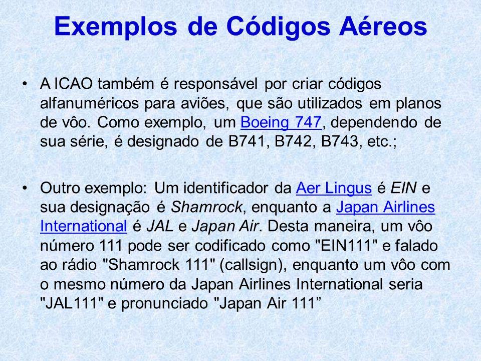 A ICAO também é responsável por criar códigos alfanuméricos para aviões, que são utilizados em planos de vôo. Como exemplo, um Boeing 747, dependendo