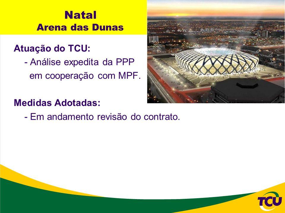 Natal Arena das Dunas Atuação do TCU: - Análise expedita da PPP em cooperação com MPF. Medidas Adotadas: - Em andamento revisão do contrato.