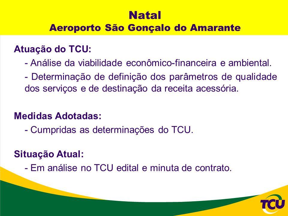 Natal Aeroporto São Gonçalo do Amarante Atuação do TCU: - Análise da viabilidade econômico-financeira e ambiental. - Determinação de definição dos par