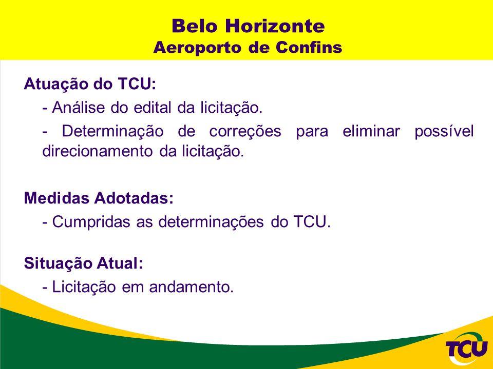 Belo Horizonte Aeroporto de Confins Atuação do TCU: - Análise do edital da licitação. - Determinação de correções para eliminar possível direcionament