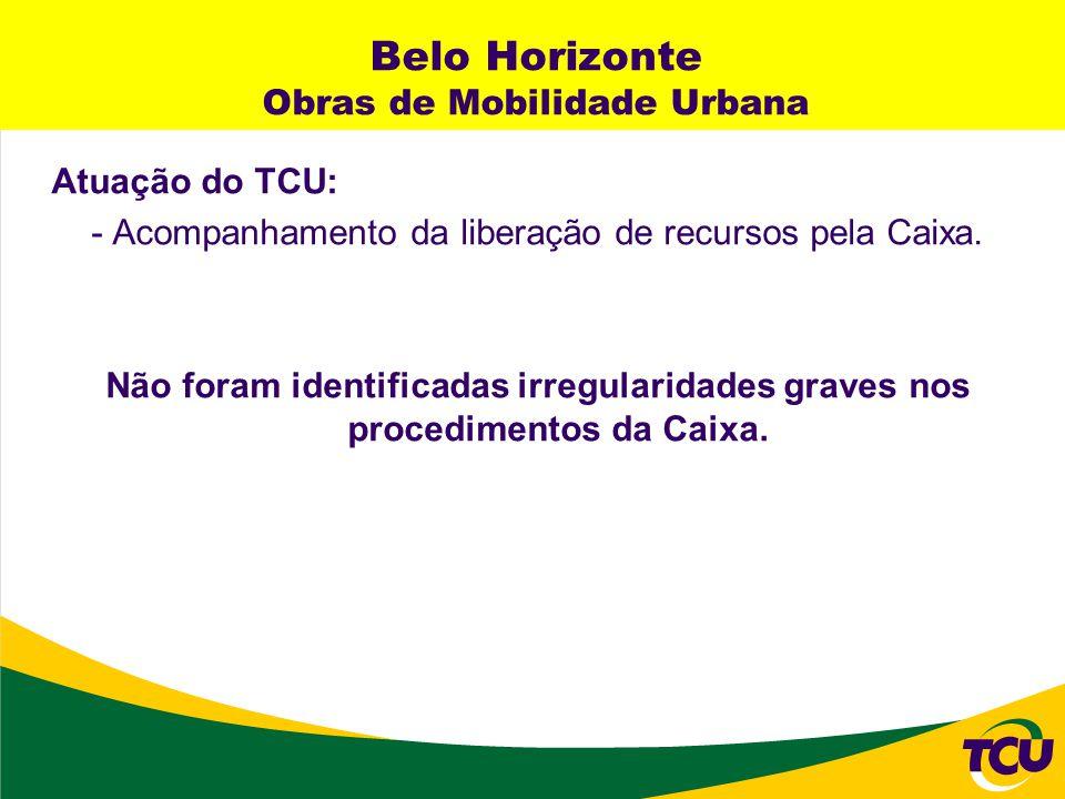 Belo Horizonte Obras de Mobilidade Urbana Atuação do TCU: - Acompanhamento da liberação de recursos pela Caixa. Não foram identificadas irregularidade