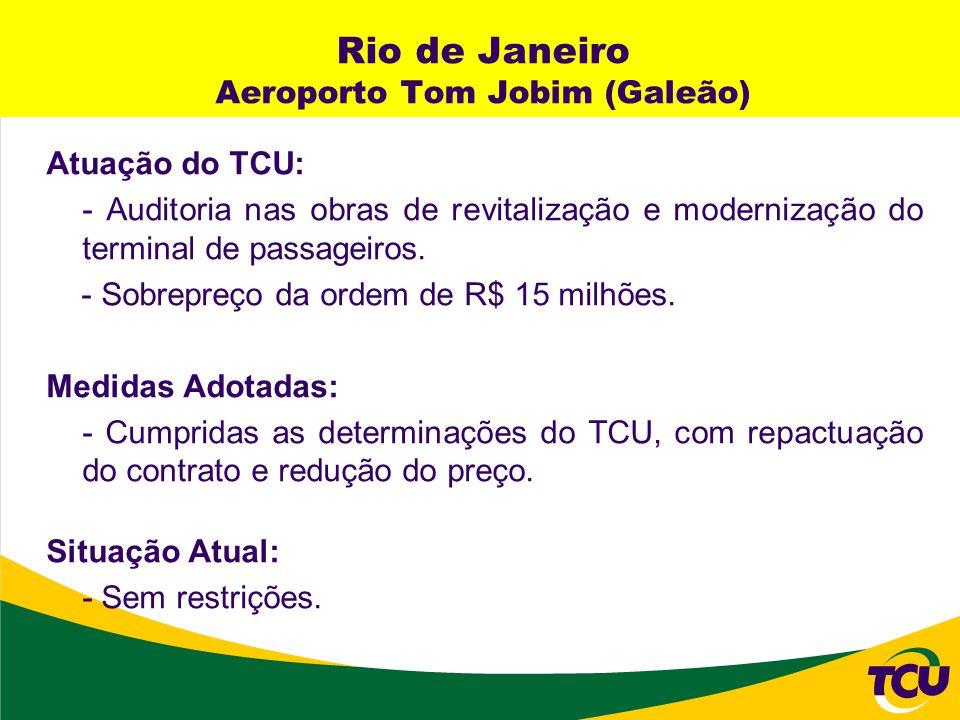 Rio de Janeiro Aeroporto Tom Jobim (Galeão) Atuação do TCU: - Auditoria nas obras de revitalização e modernização do terminal de passageiros. - Sobrep