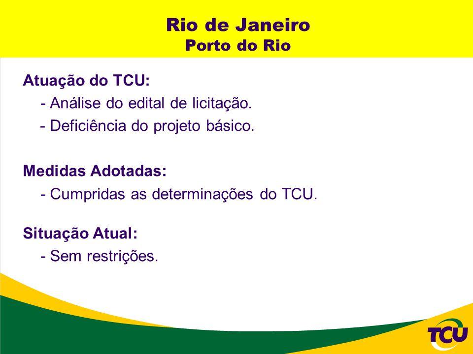 Rio de Janeiro Porto do Rio Atuação do TCU: - Análise do edital de licitação. - Deficiência do projeto básico. Medidas Adotadas: - Cumpridas as determ