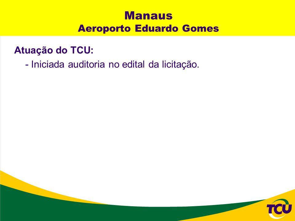Manaus Aeroporto Eduardo Gomes Atuação do TCU: - Iniciada auditoria no edital da licitação.