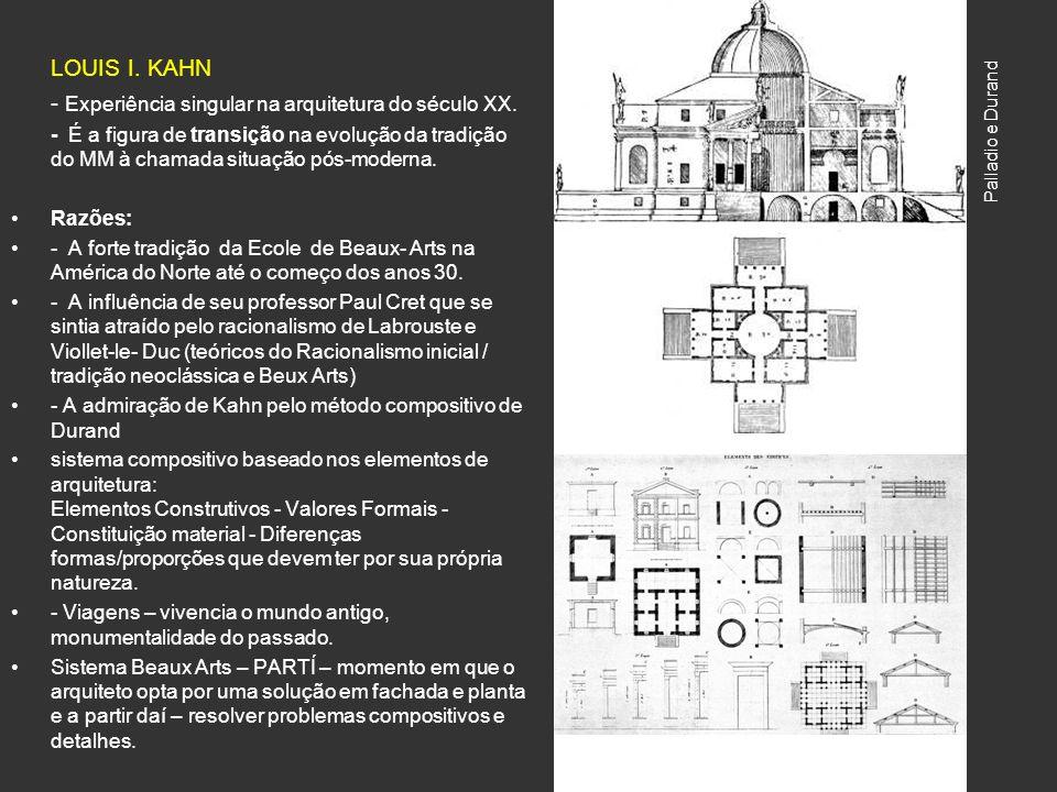 LOUIS I. KAHN - Experiência singular na arquitetura do século XX. - É a figura de transição na evolução da tradição do MM à chamada situação pós-moder