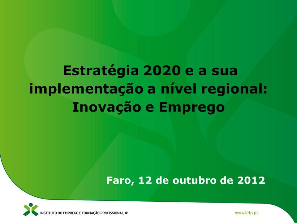 Estratégia 2020 e a sua implementação a nível regional: Inovação e Emprego Faro, 12 de outubro de 2012