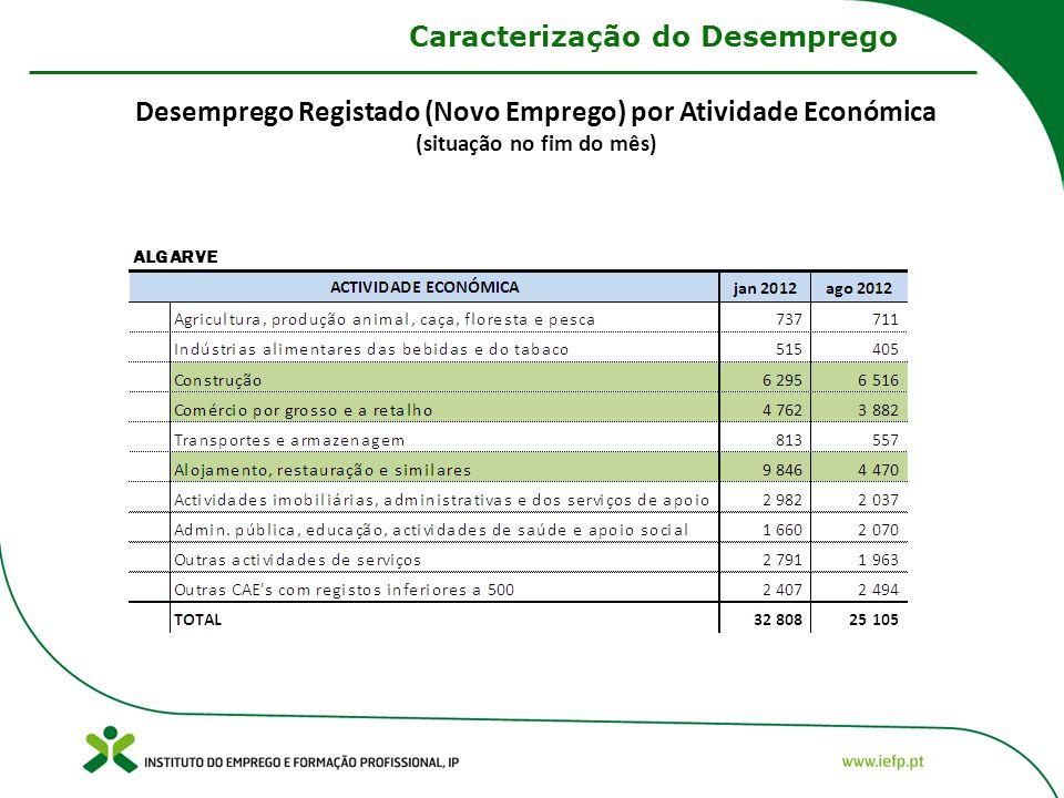 Desemprego Registado (Novo Emprego) por Atividade Económica (situação no fim do mês) Caracterização do Desemprego
