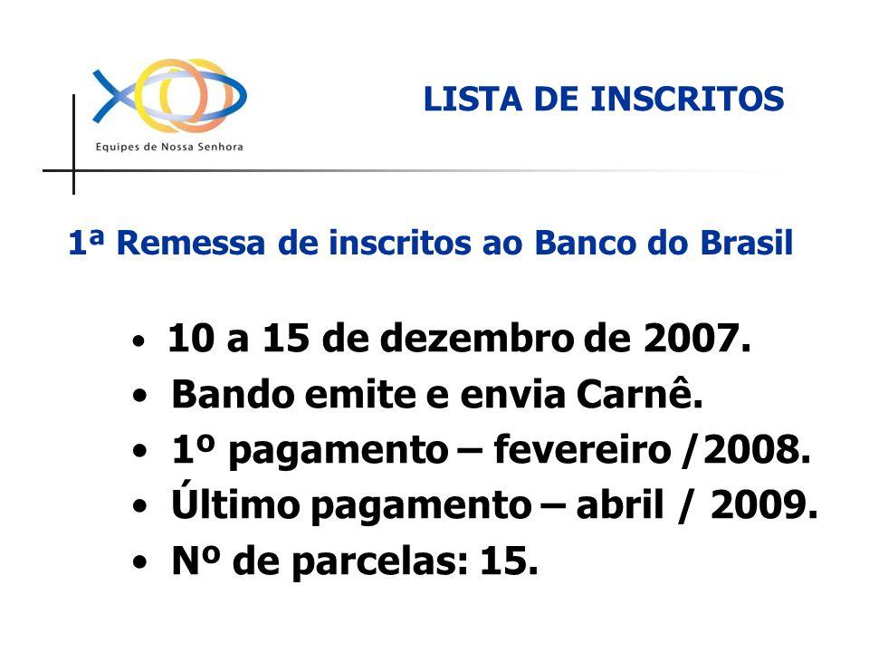1ª Remessa de inscritos ao Banco do Brasil 10 a 15 de dezembro de 2007. Bando emite e envia Carnê. 1º pagamento – fevereiro /2008. Último pagamento –
