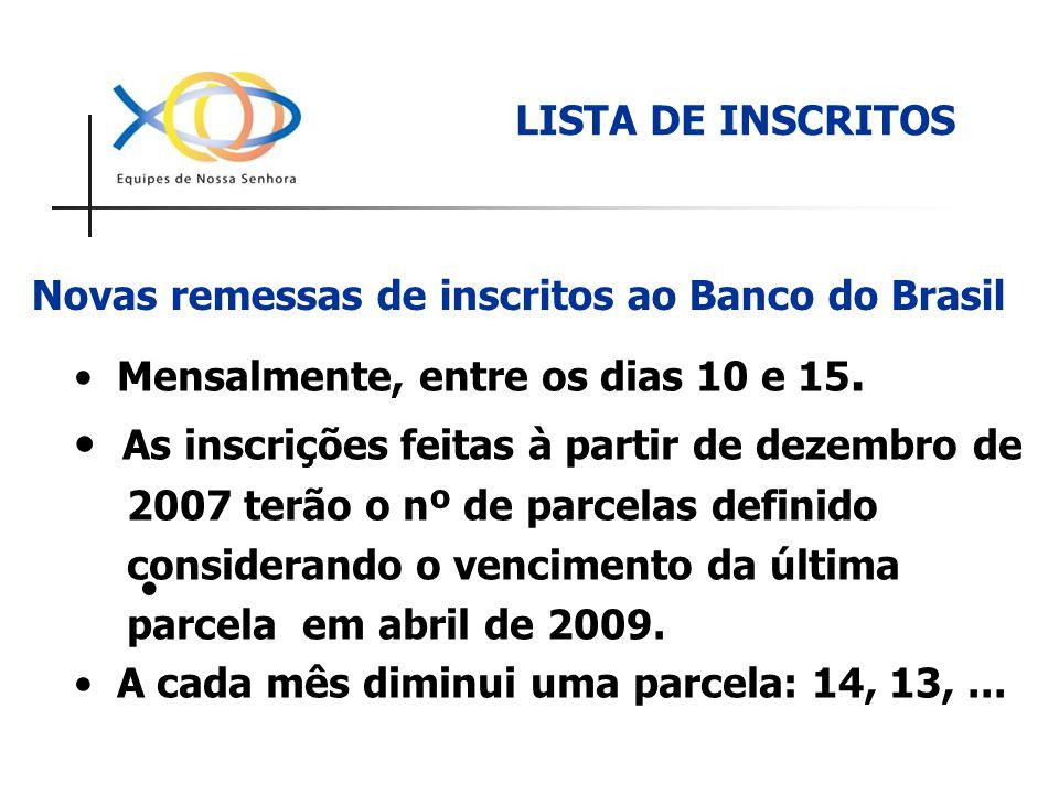 Novas remessas de inscritos ao Banco do Brasil Mensalmente, entre os dias 10 e 15. As inscrições feitas à partir de dezembro de 2007 terão o nº de par