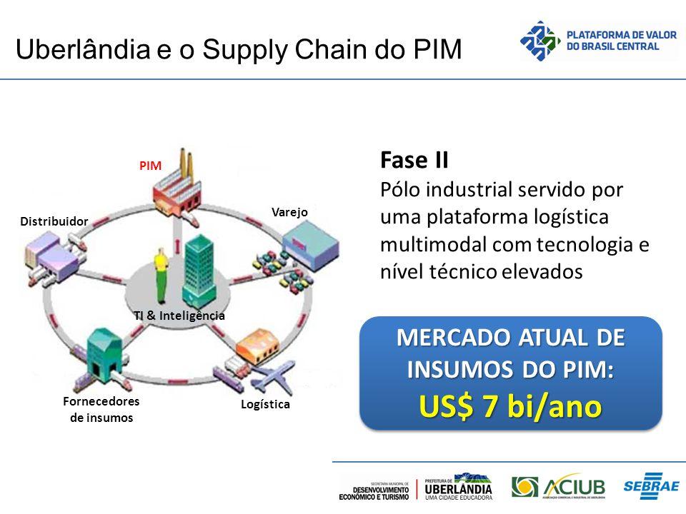 Uberlândia e o Supply Chain do PIM PIM Varejo Distribuidor Fornecedores de insumos Logística TI & Inteligência Fase II Pólo industrial servido por uma