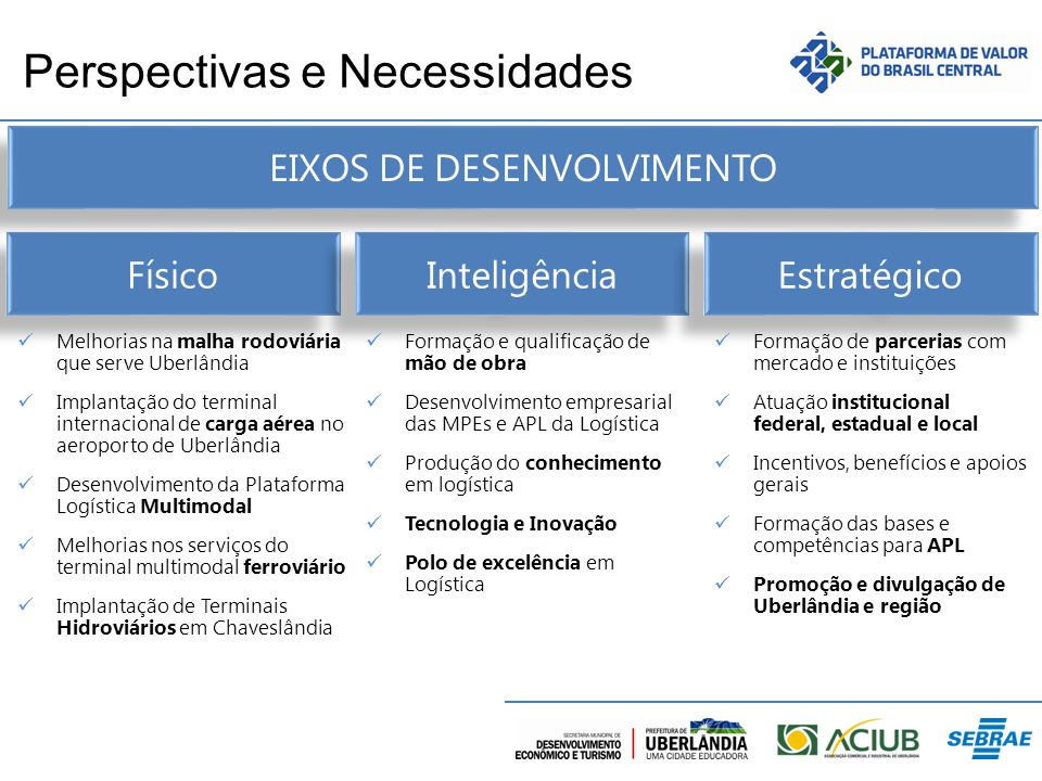 Perspectivas e Necessidades Físico Inteligência Estratégico Melhorias na malha rodoviária que serve Uberlândia Implantação do terminal internacional d