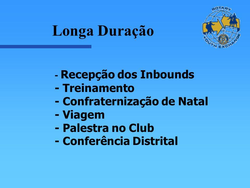 - Recepção dos Inbounds - Treinamento - Confraternização de Natal - Viagem - Palestra no Club - Conferência Distrital Longa Duração