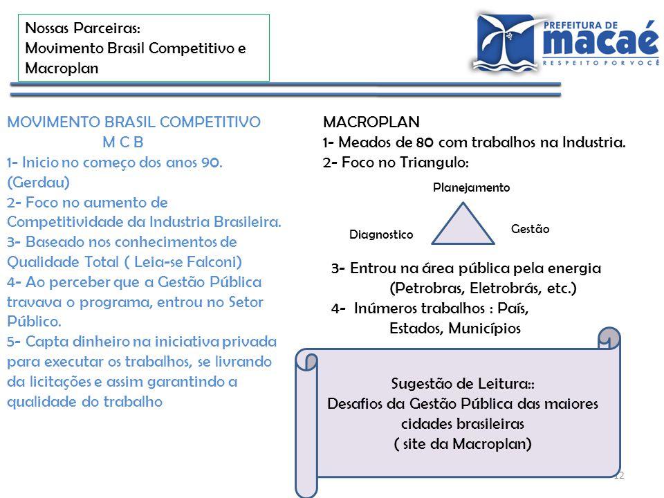 12 Nossas Parceiras: Movimento Brasil Competitivo e Macroplan MOVIMENTO BRASIL COMPETITIVO M C B 1- Inicio no começo dos anos 90. (Gerdau) 2- Foco no