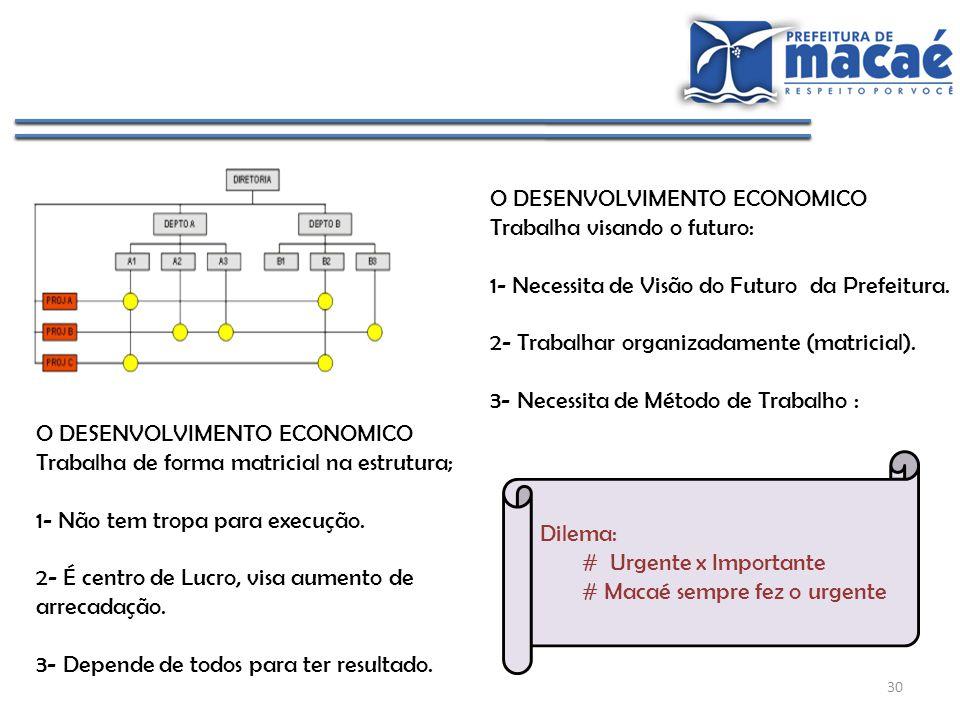 30 O DESENVOLVIMENTO ECONOMICO Trabalha de forma matricial na estrutura; 1- Não tem tropa para execução. 2- É centro de Lucro, visa aumento de arrecad