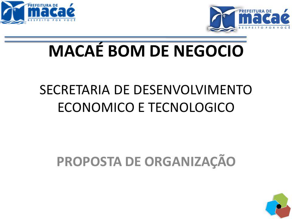 MACAÉ BOM DE NEGOCIO SECRETARIA DE DESENVOLVIMENTO ECONOMICO E TECNOLOGICO PROPOSTA DE ORGANIZAÇÃO