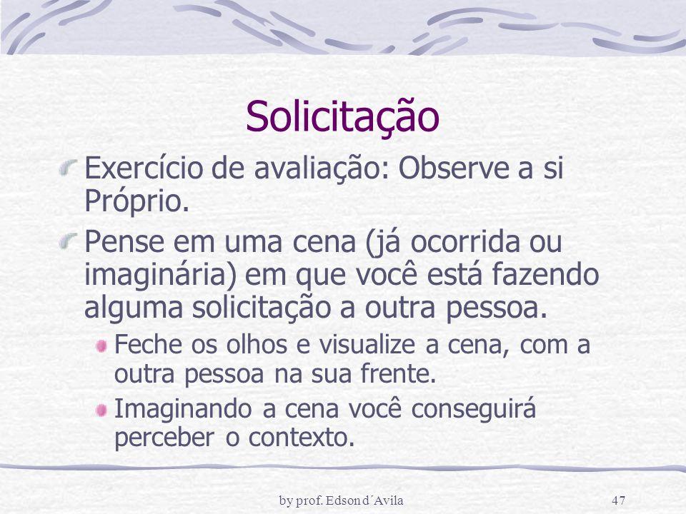 by prof.Edson d´Avila47 Solicitação Exercício de avaliação: Observe a si Próprio.