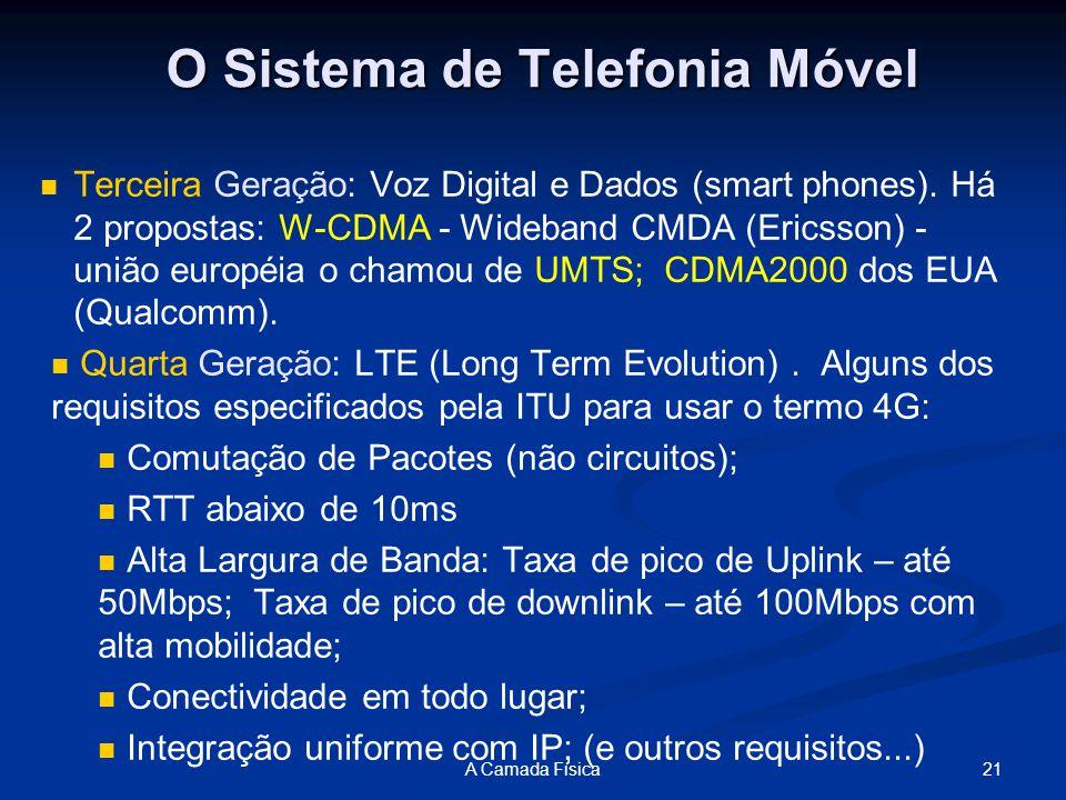 21A Camada Física O Sistema de Telefonia Móvel Terceira Geração: Voz Digital e Dados (smart phones).