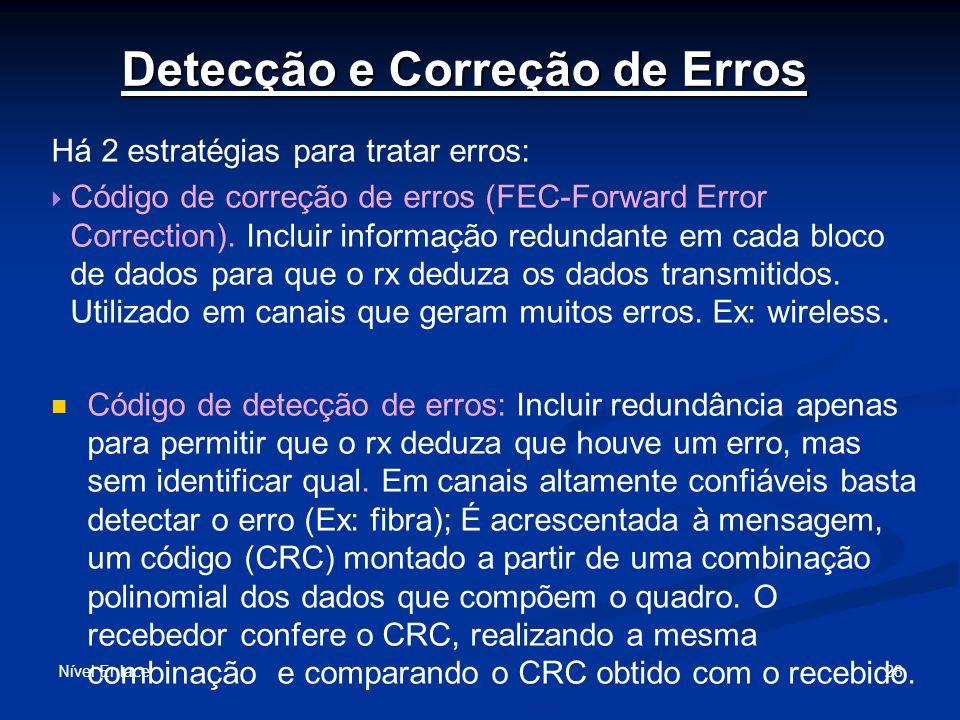 Detecção e Correção de Erros Nível Enlace 28 Há 2 estratégias para tratar erros: Código de correção de erros (FEC-Forward Error Correction).