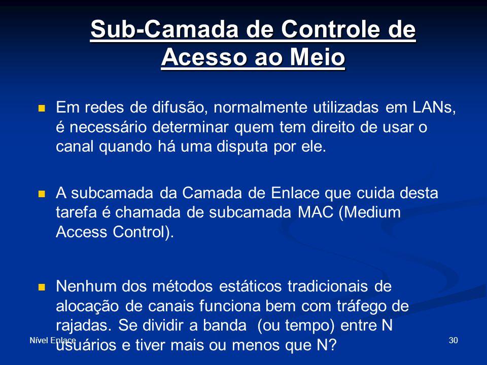 Sub-Camada de Controle de Acesso ao Meio Nível Enlace 30 Em redes de difusão, normalmente utilizadas em LANs, é necessário determinar quem tem direito de usar o canal quando há uma disputa por ele.