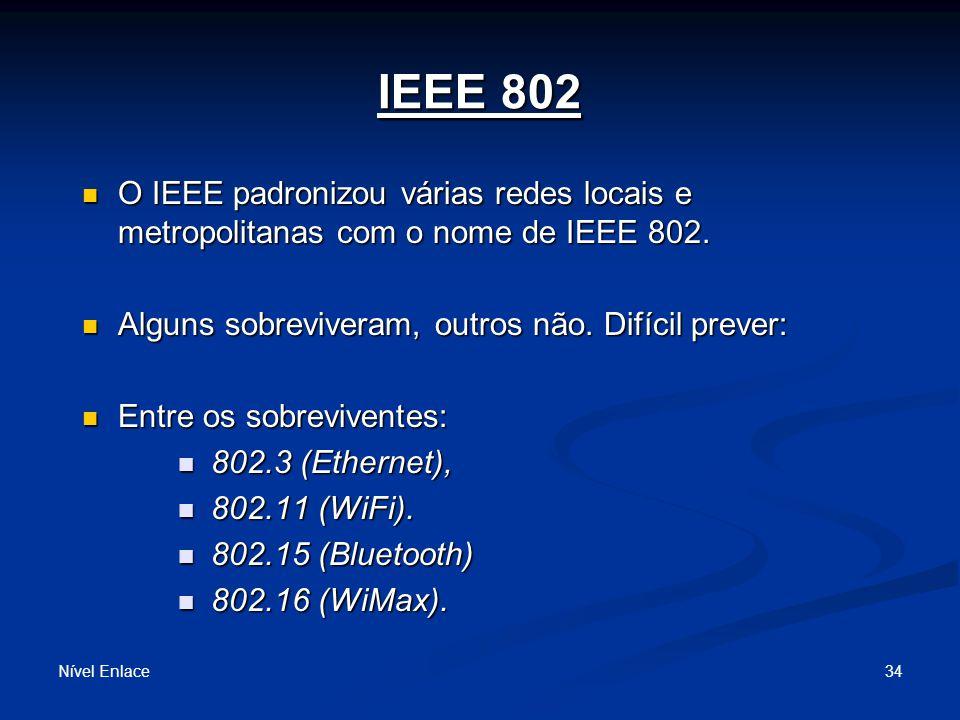 IEEE 802 Nível Enlace 34 O IEEE padronizou várias redes locais e metropolitanas com o nome de IEEE 802.
