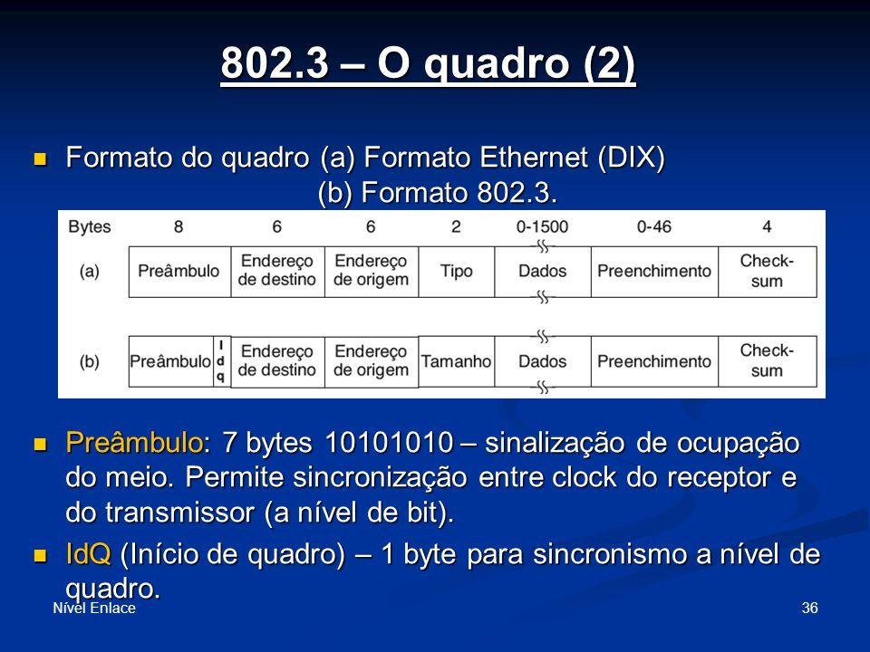 802.3 – O quadro (2) Nível Enlace 36 Formato do quadro (a) Formato Ethernet (DIX) (b) Formato 802.3.