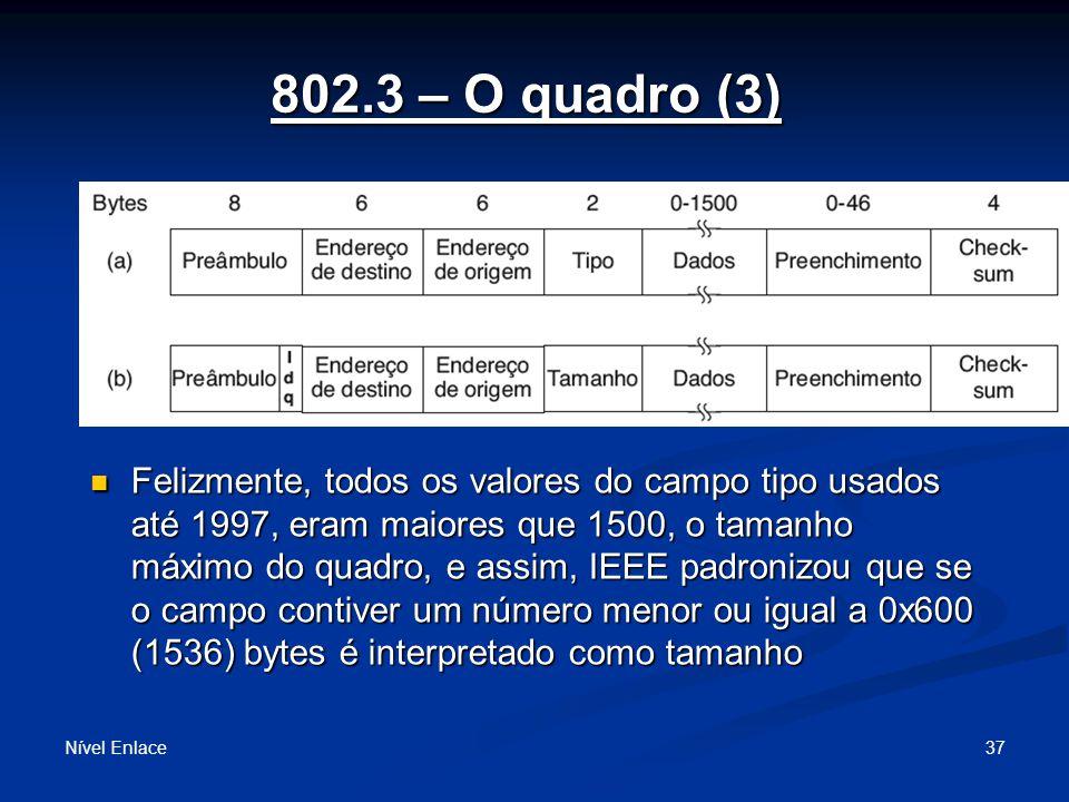 802.3 – O quadro (3) Nível Enlace 37 Felizmente, todos os valores do campo tipo usados até 1997, eram maiores que 1500, o tamanho máximo do quadro, e assim, IEEE padronizou que se o campo contiver um número menor ou igual a 0x600 (1536) bytes é interpretado como tamanho Felizmente, todos os valores do campo tipo usados até 1997, eram maiores que 1500, o tamanho máximo do quadro, e assim, IEEE padronizou que se o campo contiver um número menor ou igual a 0x600 (1536) bytes é interpretado como tamanho