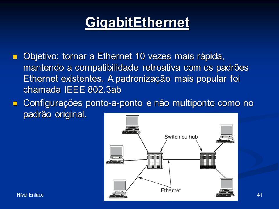 GigabitEthernet Nível Enlace 41 Objetivo: tornar a Ethernet 10 vezes mais rápida, mantendo a compatibilidade retroativa com os padrões Ethernet existentes.