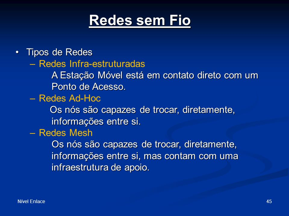 Tipos de Redes Nível Enlace 46 MH – Mobile Host AP – Access Point FH – Fixed Host APAP MHMH MHMH MHMH FH <= Infra-Estruturadas Ad Hoc =>