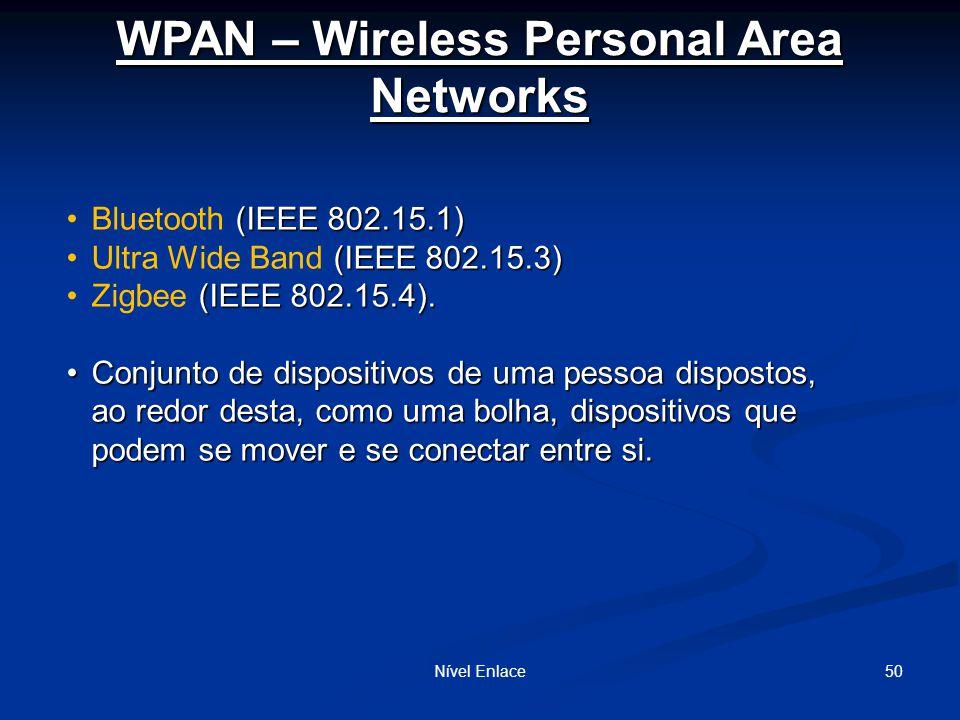 WPAN – Wireless Personal Area Networks Nível Enlace50 (IEEE 802.15.1)Bluetooth (IEEE 802.15.1) (IEEE 802.15.3)Ultra Wide Band (IEEE 802.15.3) (IEEE 802.15.4).Zigbee (IEEE 802.15.4).