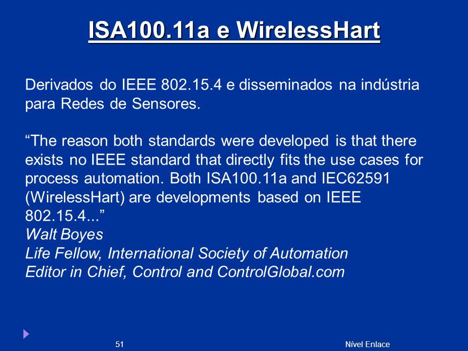 Nível Enlace51 Derivados do IEEE 802.15.4 e disseminados na indústria para Redes de Sensores.