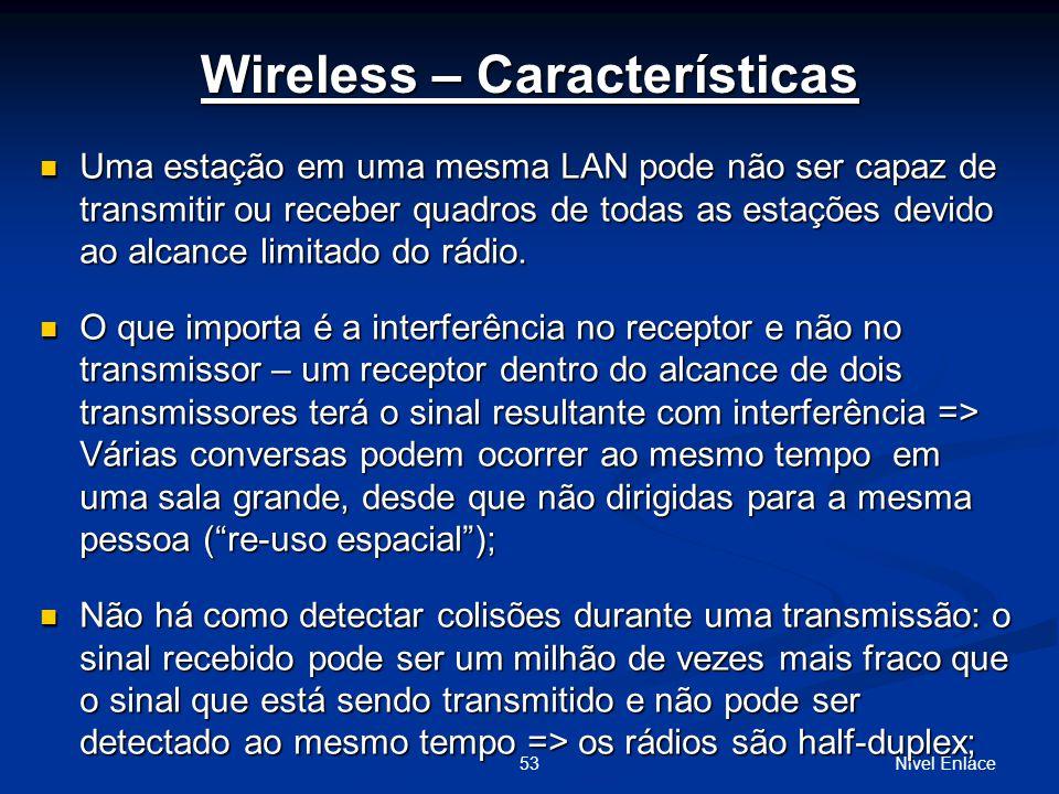 Nível Enlace53 Wireless – Características Uma estação em uma mesma LAN pode não ser capaz de transmitir ou receber quadros de todas as estações devido ao alcance limitado do rádio.