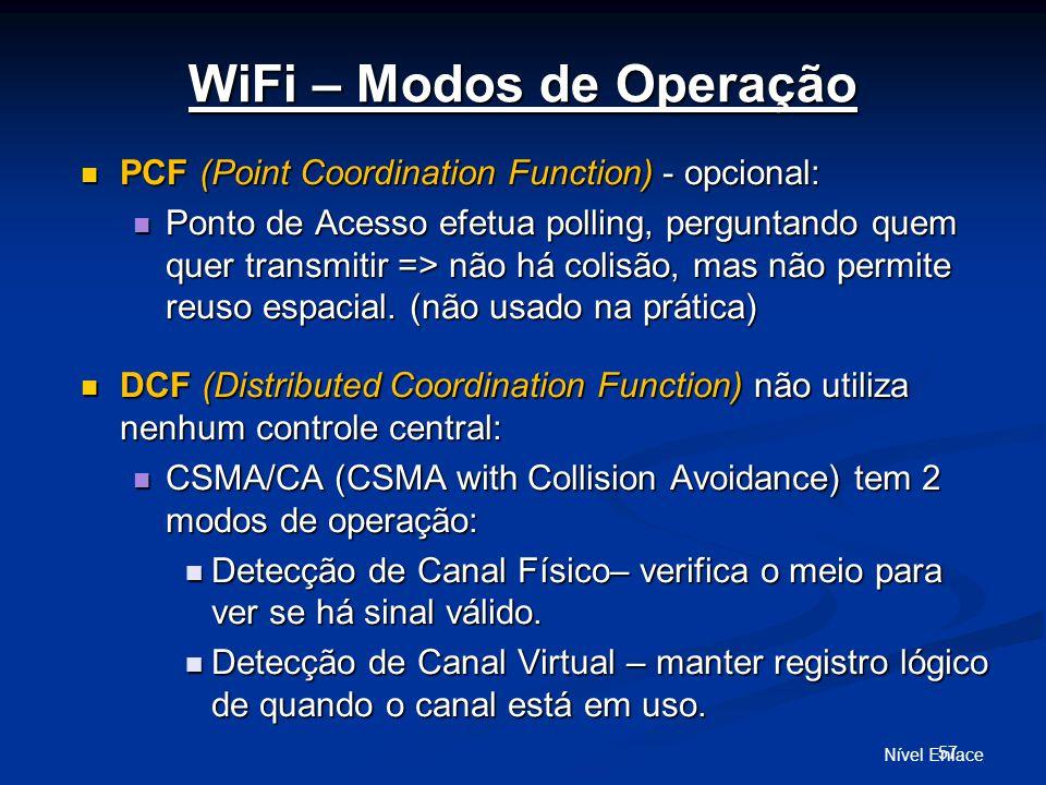Nível Enlace 57 WiFi – Modos de Operação PCF (Point Coordination Function) - opcional: PCF (Point Coordination Function) - opcional: Ponto de Acesso efetua polling, perguntando quem quer transmitir => não há colisão, mas não permite reuso espacial.