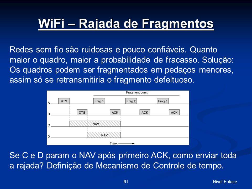 Nível Enlace61 Redes sem fio são ruidosas e pouco confiáveis.