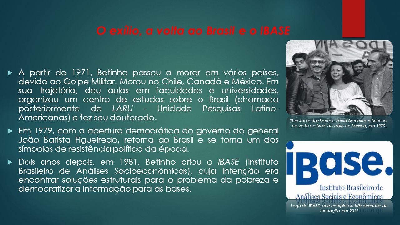 O pioneirismo na internet e prêmios do IBASE Com a participação de várias campanhas, Betinho consolidou cada vez mais o IBASE e a fez crescer exponencialmente.