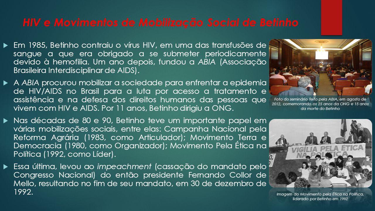 A Ação da Cidadania contra a Fome, a Miséria e pela Vida Fundada em 1993 por Betinho, a ONG visava a mobilização de todos os segmentos da sociedade brasileira na busca de soluções para as questões da fome e da miséria e trabalha para estimular a participação cidadã na construção e melhoria das políticas públicas sociais, sem nenhuma intervenção do Governo.
