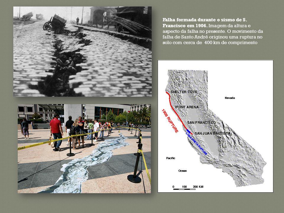 Falha formada durante o sismo de S. Francisco em 1906. Imagem da altura e aspecto da falha no presente. O movimento da falha de Santo André originou u