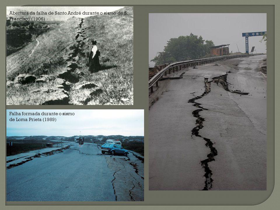 Abertura da falha de Santo André durante o sismo de S. Francisco (1906) Falha formada durante o sismo de Loma Prieta (1989)