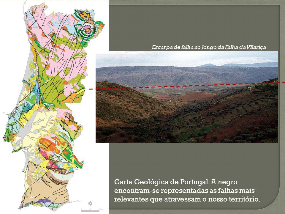 Carta Geológica de Portugal. A negro encontram-se representadas as falhas mais relevantes que atravessam o nosso território. Escarpa de falha ao longo