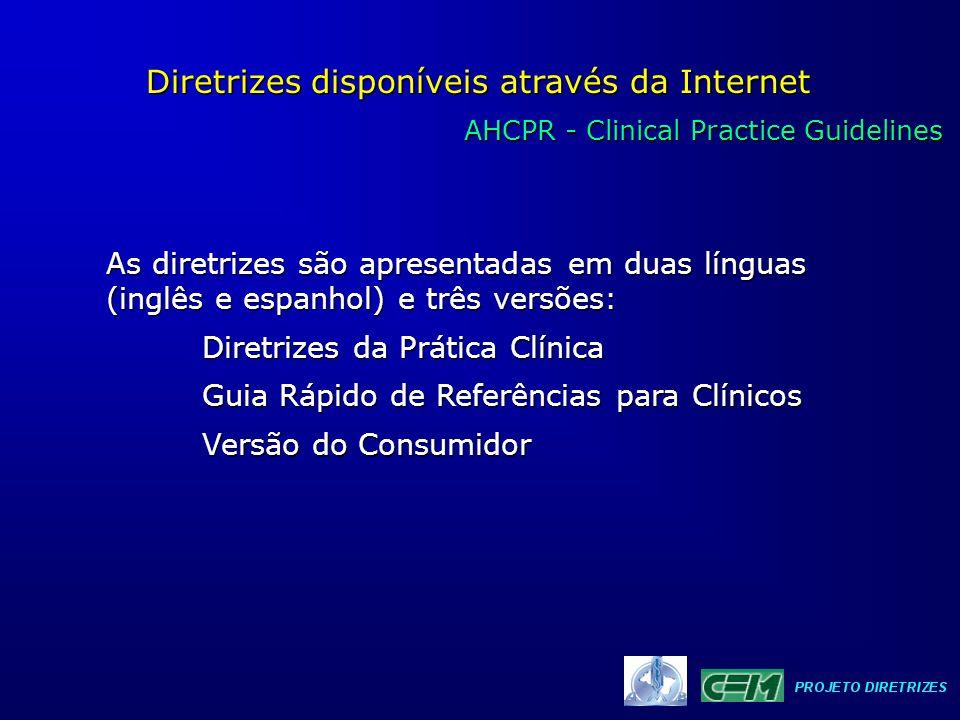 AHCPR - Clinical Practice Guidelines AHCPR - Clinical Practice Guidelines Diretrizes disponíveis através da Internet As diretrizes são apresentadas em