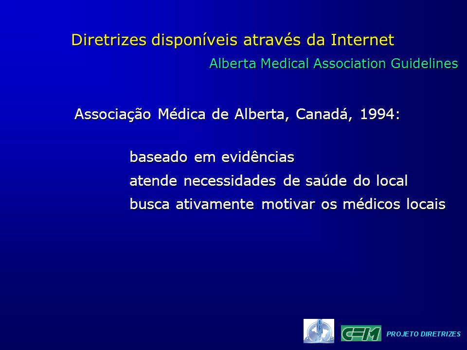 Alberta Medical Association Guidelines Alberta Medical Association Guidelines Diretrizes disponíveis através da Internet baseado em evidências atende