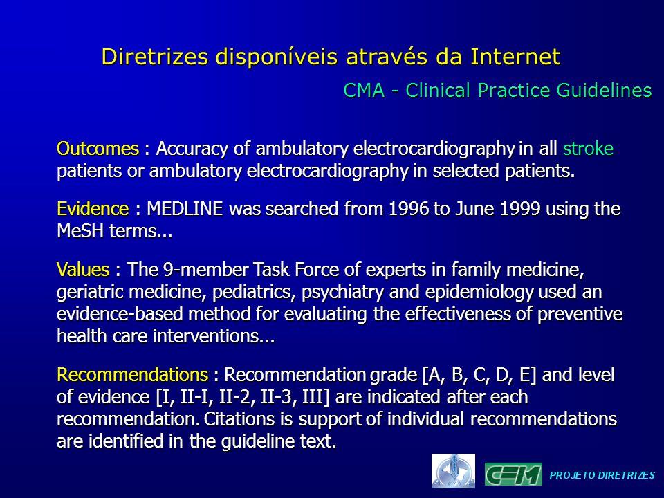CMA - Clinical Practice Guidelines CMA - Clinical Practice Guidelines Diretrizes disponíveis através da Internet Outcomes : Accuracy of ambulatory ele